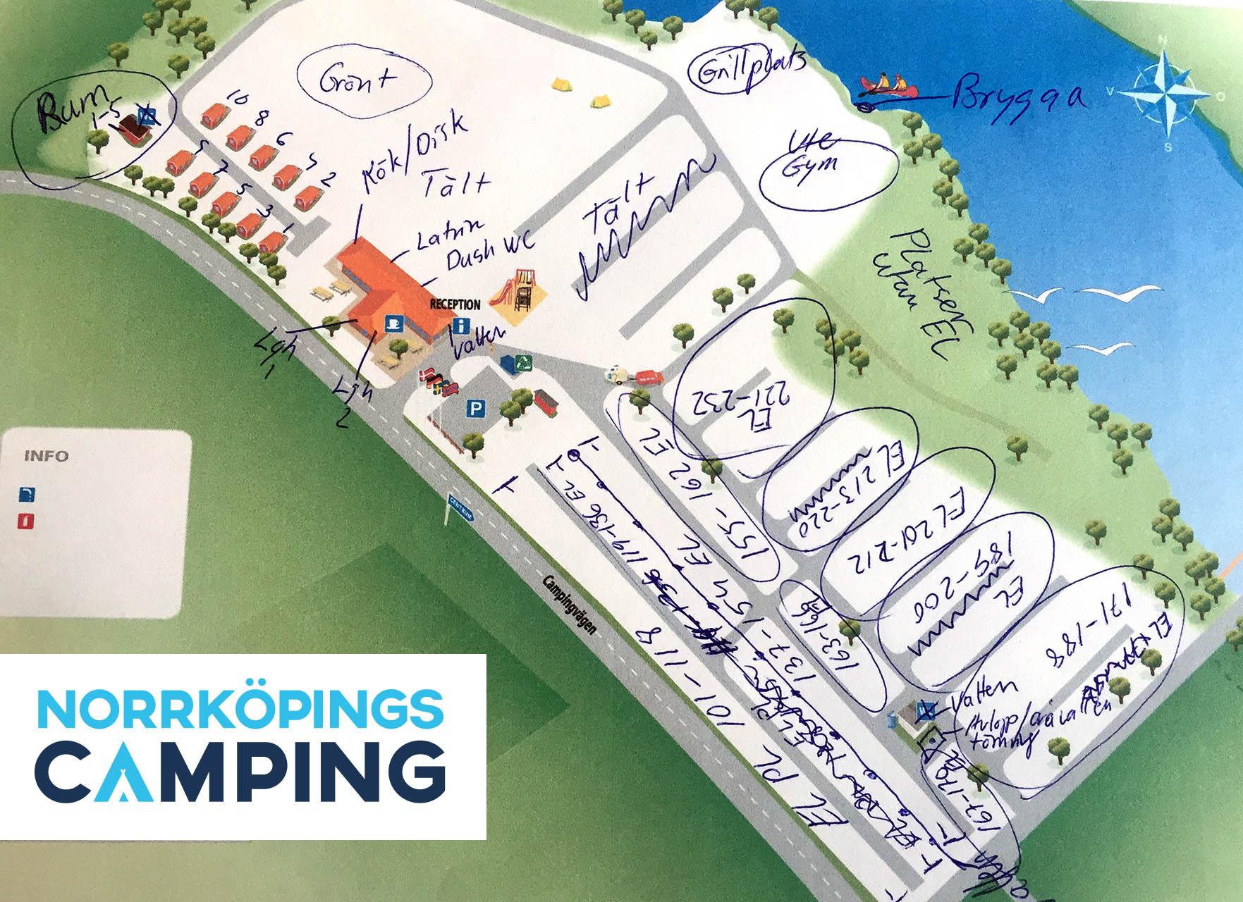Karta över Norrköpings Camping